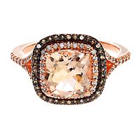 EFFY® Morganite, 1/3 ct. tw. White & Champagne Diamond Ring in 14K Rose Gold