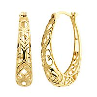 Hoop Earrings in 18K Yellow Gold over Sterling Silver