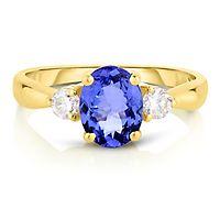 Tanzanite & 1/4 ct. tw. Diamond Ring in 14K Yellow Gold