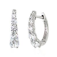 Lab-Created White Sapphire Graduated Hoop Earrings in Sterling Silver