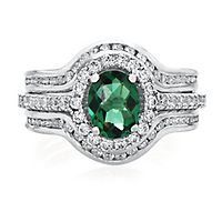 Lab-Created Emerald & White Sapphire Ring Set in Sterling Silver