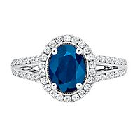Blue Sapphire & 1/2 ct. tw. Diamond Ring in 14K White Gold