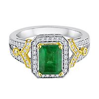 Helzberg Limited Edition® Emerald & 3/8 ct. tw. Diamond Ring in 14K White & Yellow Gold