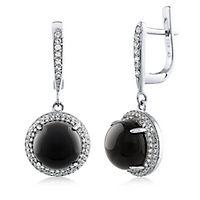 Onyx & White Topaz Dangle Earrings in Sterling Silver