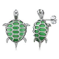 Jade Turtle Earrings in Sterling Silver