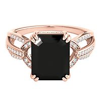 Onyx & 1/7 ct. tw. Diamond Ring in 10K Rose Gold