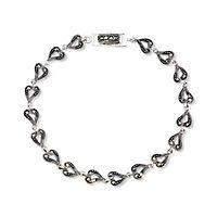 Marcasite Heart Link Bracelet in Sterling Silver