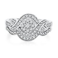 1/2 ct. tw. Diamond Engagement Twist Ring Set in 10K White Gold