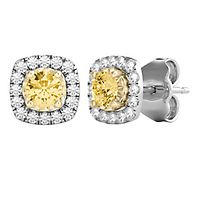 1/2 ct. tw. Yellow & White Diamond Halo Stud Earrings in 10K White & Yellow Gold