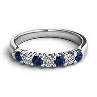 Sapphire & 1/5 ct. tw. Diamond Band in Platinum