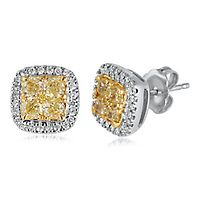1 ct. tw. Yellow & White Diamond Stud Earrings in 14K White Gold