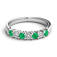 Emerald & 1/5 ct. tw. Diamond Band in Platinum