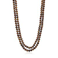 Chocolate Freshwater Cultured Pearl Two-Row Strand Necklace in Sterling Silver, 6MM, 17