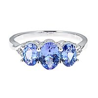 Tanzanite & Lab-Created White Sapphire Ring in Sterling Silver