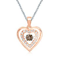 The Beat of Your Heart® 1/7 ct. tw. Champagne & White Diamond Pendant in 10K Rose & White Gold