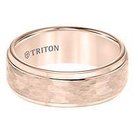 Triton Men's Hammered Pattern Band in Tungsten, 8MM