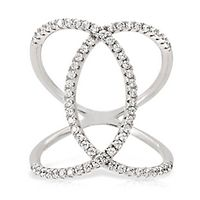 Diamonvita® 5/8 ct. tw. Simulated Diamond Loop Ring in Sterling Silver
