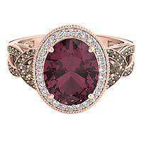 Helzberg Limited Edition® Rhodolite Garnet & 1/3 ct. tw. Diamond Ring in 14K Rose Gold