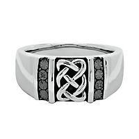 Men's Black Diamond Ring in Sterling Silver