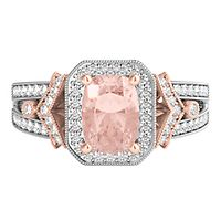 Morganite & 1/3 ct. tw. Diamond Ring in 14K White &  Rose Gold