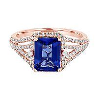 EFFY® Tanzanite & 3/8 ct. tw. Diamond Ring in 14K Rose Gold