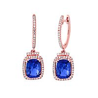 EFFY® Tanzanite & 1/3 ct. tw. Diamond Dangle Earrings in 14K Rose Gold