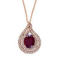 EFFY® Rhodolite Garnet & 1/2 ct. tw. Diamond Teardrop Pendant in 14K Rose Gold