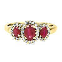 Ruby & 1/4 ct. tw. Diamond Three-Stone Ring in 10K Yellow Gold