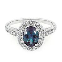 Lab-Created Alexandrite & White Sapphire Halo Ring in Sterling Silver