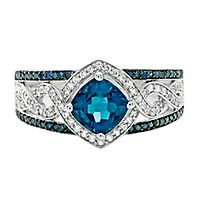 London Blue Topaz & 3/8 ct. tw. Blue & White Diamond Ring in 10K White Gold
