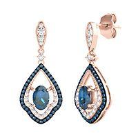London Blue Topaz & 1/2 ct. tw. Blue & White Diamond Earrings in 10K Rose Gold