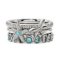 Blue Topaz Stack Ring Set in Sterling Silver