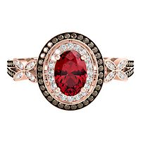 Ruby, 1/3 ct. tw. Champagne & White Diamond Ring in 10K Rose Gold