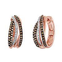 EFFY® 3/4 ct. tw. Champagne & White Diamond Hoop Earrings in 14K Rose Gold
