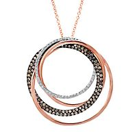 EFFY® 1 ct. tw. Champagne & White Diamond Orbit Pendant in 14K Rose Gold