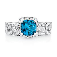 London Blue Topaz & 1/3 ct. tw. Diamond Ring Set in 14K White Gold