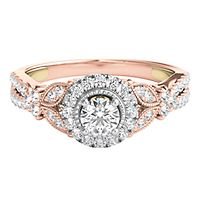 TRULY™ Zac Posen 5/8 ct. tw. Diamond Halo Engagement Ring in 14K Rose & White Gold
