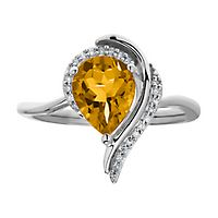 Citrine & Diamond Ring in Sterling Silver