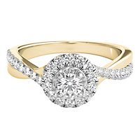 5/8 ct. tw. Diamond Halo Engagement Ring in 14K Yellow Gold