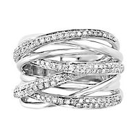 EFFY® 1/2 ct. tw. Diamond Criss Cross Ring in 14K White Gold