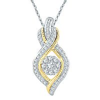 Mirabella® 1/3 ct. tw. Diamond Pendant in 10K White & Yellow Gold
