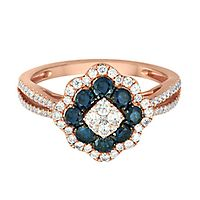 1 ct. tw. Blue & White Diamond Ring in 14K Rose Gold
