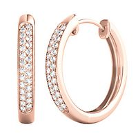 1/7 ct. tw. Diamond Hoop Earrings in 10K Rose Gold
