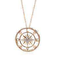 Circle of Love® Diamond Love Compass Pendant in 10K Rose Gold