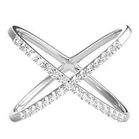 1/10 ct. tw. Diamond Criss Cross Ring in Sterling Silver