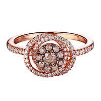 5/8 ct. tw. Sparkling Champagne® & White Diamond Swirl Ring in 14K Rose Gold