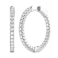 1 ct. tw. Diamond Hoop Earrings in 14K White Gold