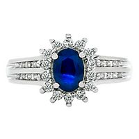 Blue Sapphire & 1/4 ct. tw. Diamond Ring in 10K White Gold