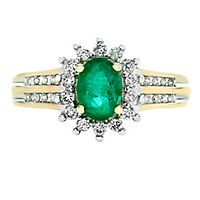 Emerald & 1/4 ct. tw. Diamond Halo Ring in 10K Yellow Gold
