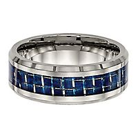 Beveled Edge Blue Carbon Fiber Inlay Band in Titanium, 8MM
